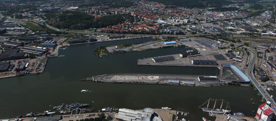 Flygbild över Frihamnen och Ringön.