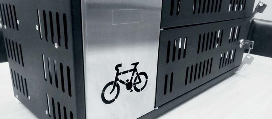 Skåp för laddning av elcykelbatterier.