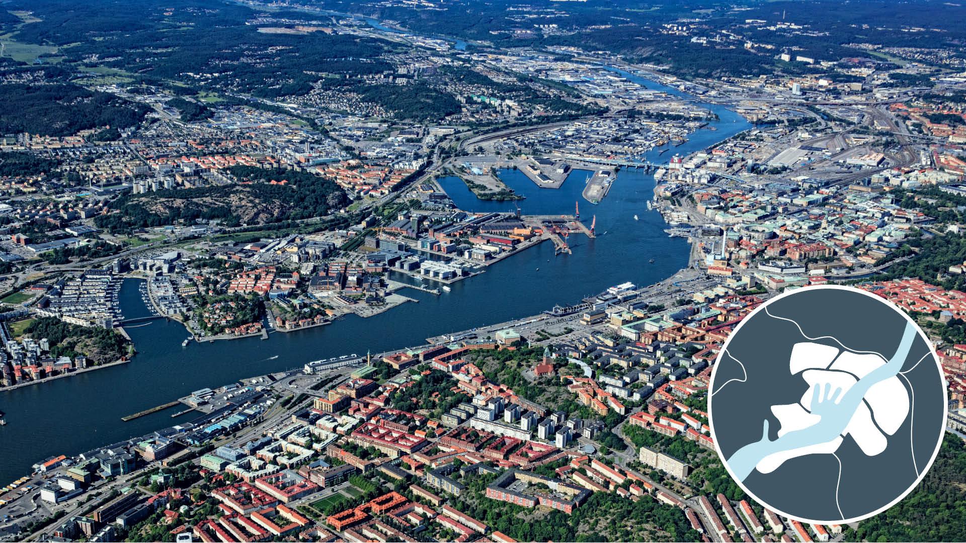 Flygbild över Älvstaden i centrala Göteborg.