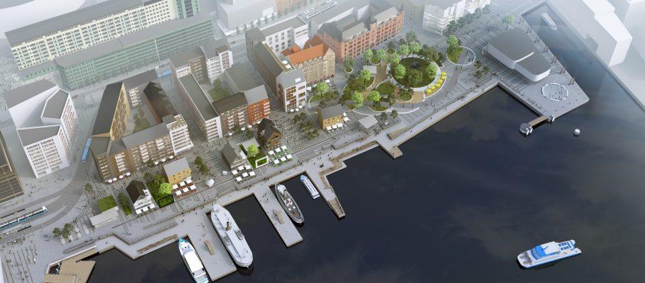 Illustration över Skeppsbron.