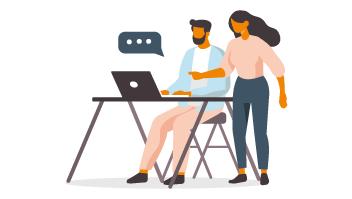 Illustration som visar två människor pratandes över en dator vid ett skrivbord.