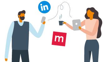 Illustration över två personer med mobiler och datorer som surfar på Mynewsdesk och LinkedIn.