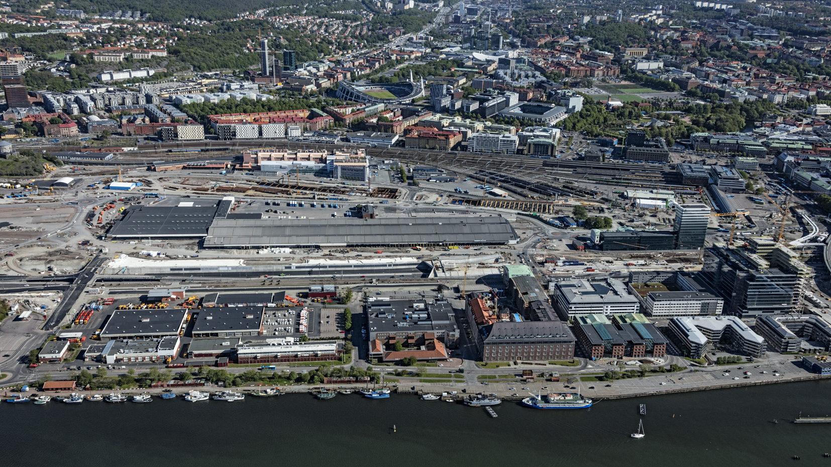 Vy över Guldbergsvass där stora infrastrukturprojekt pågår, bland annat byggandet av Västlänken.