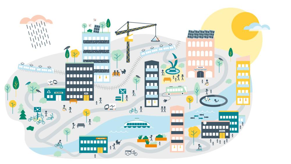 Illustration hållbar stadsutveckling illustration 2020