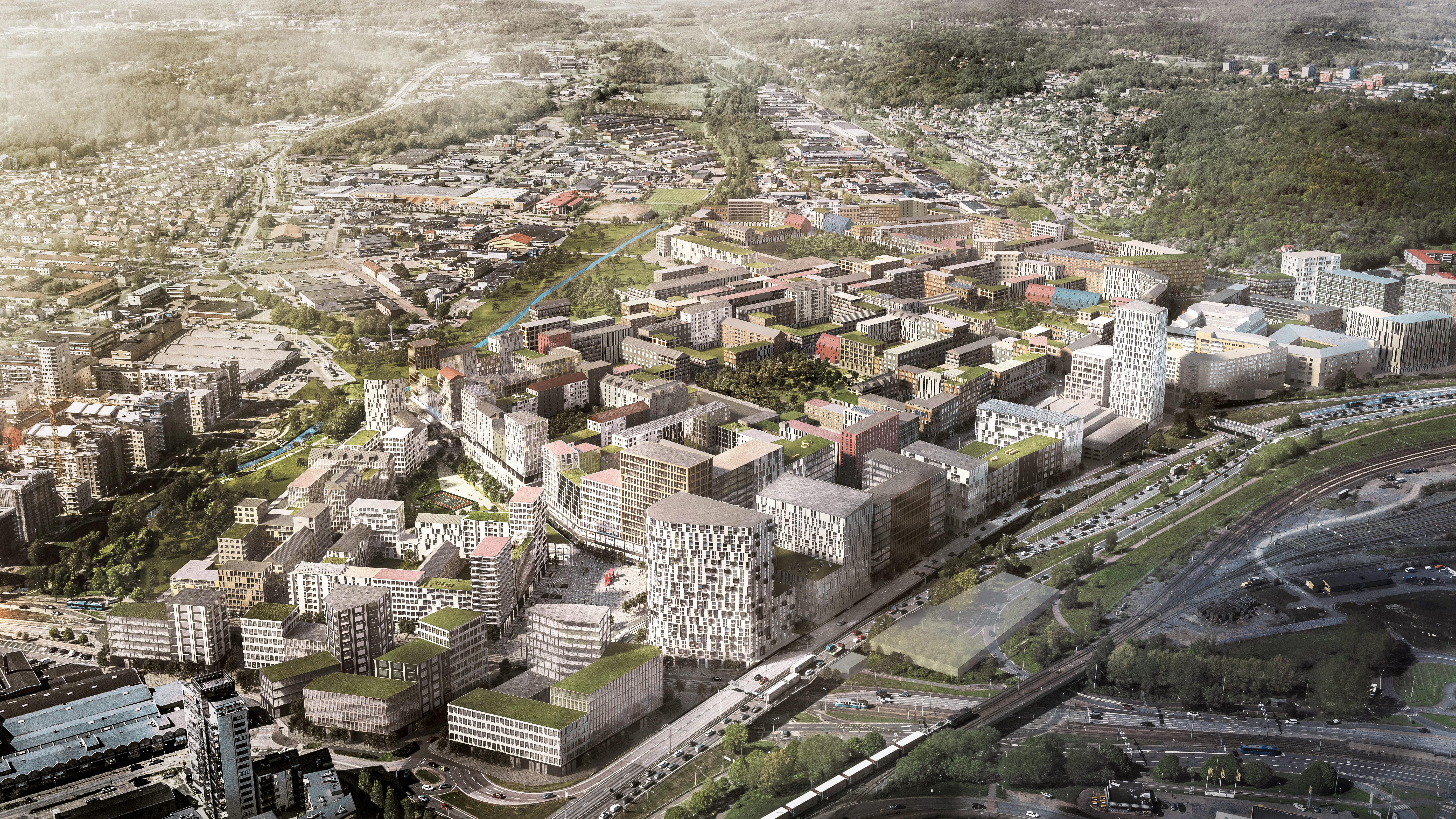 Där det idag är stora parkeringsytor kommer det i framtiden vara tät bebyggelse.