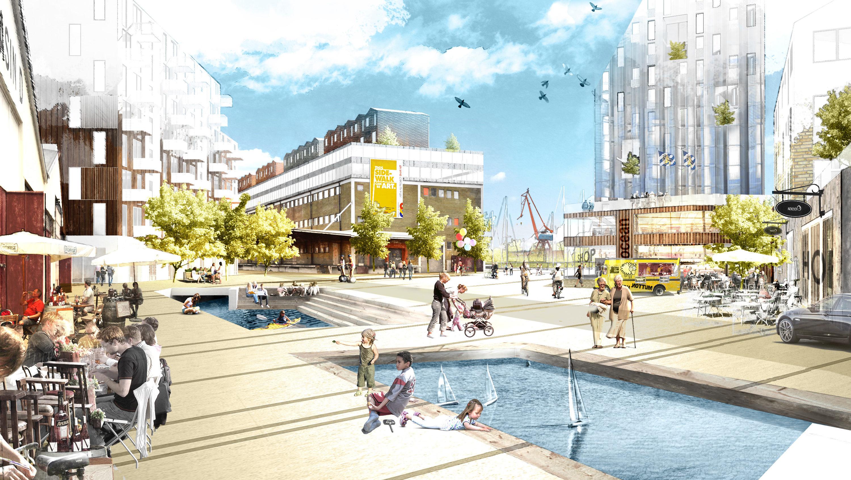 Där det idag är stora tomma asfaltsytor I Frihamnen kommer det i framtiden vara tät blandad bebyggelse.