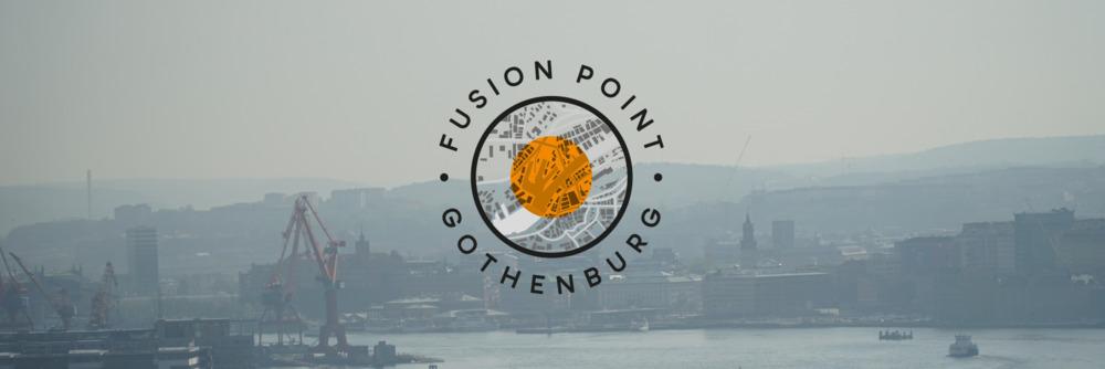 Fusion Point Gothenburg logo med vy över älven och Göteborg i bakgrunden.