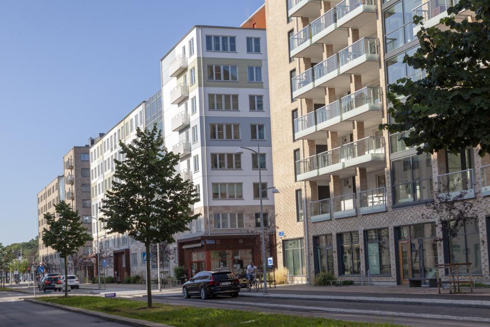 Nybyggnationer i stadsdelen Kvillebäcken vid Backaplan.