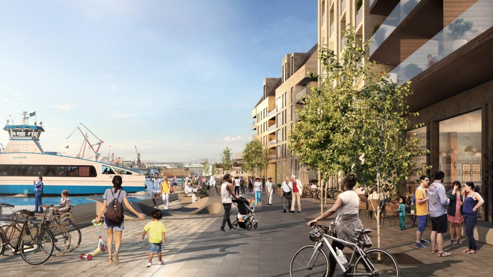 Visionsbild över framtidens Masthuggskajen där människor promenerar längs det nya kajstråket.