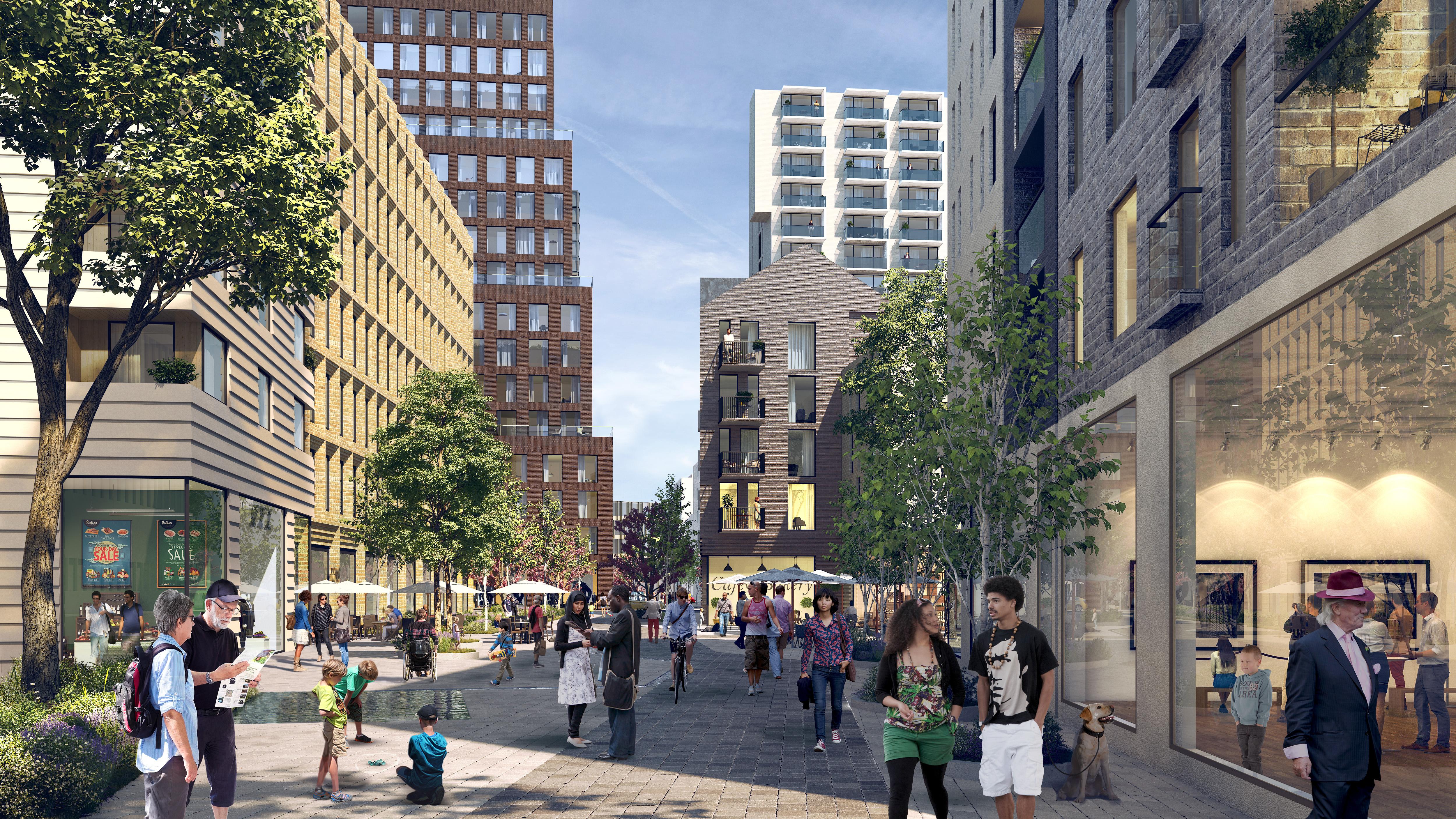 Visionsbild över en en gata med rikt folkliv på Masthuggskajen.