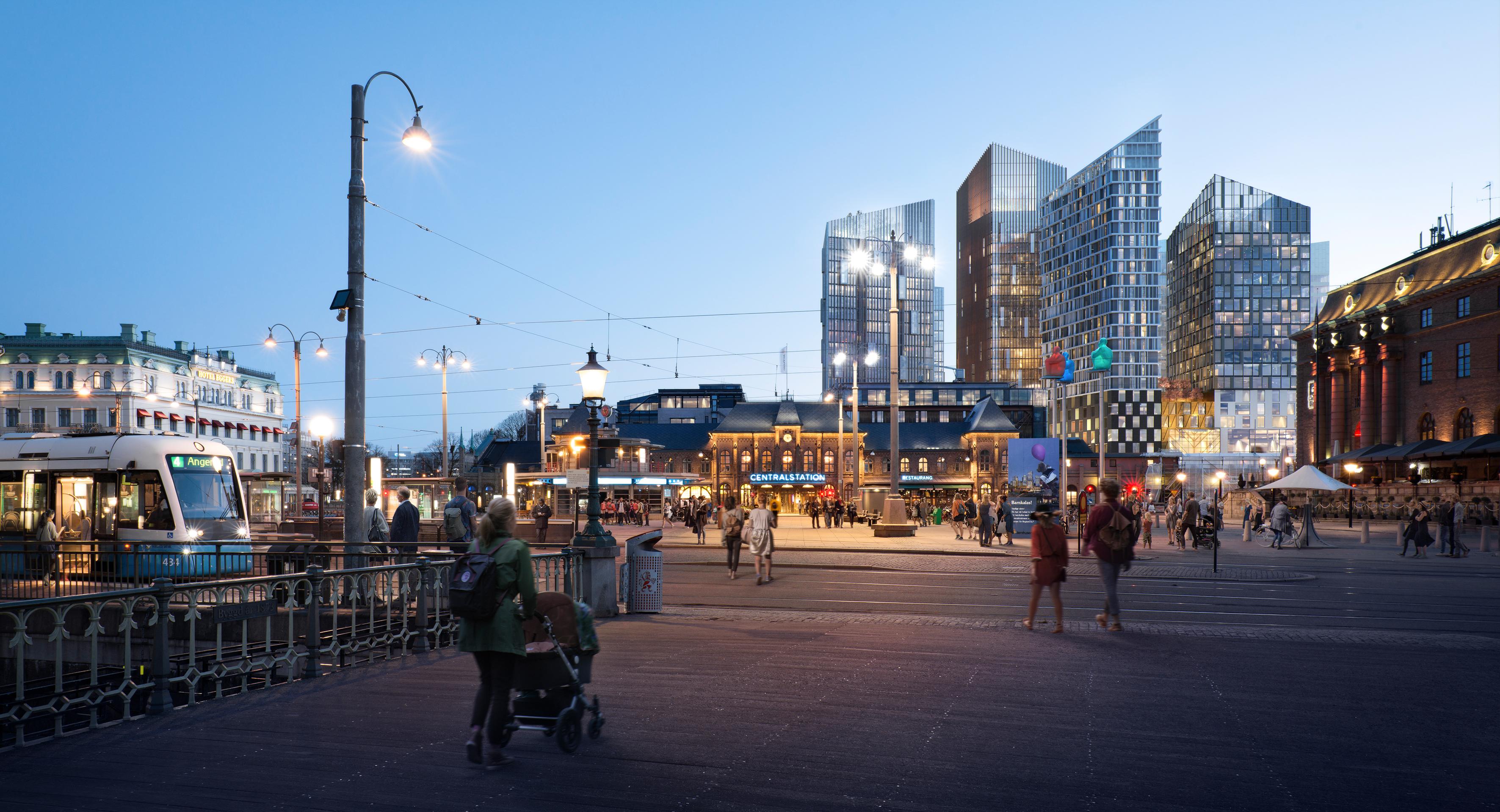 Centralenområdet kommer att få en helt ny siluett med högra bebyggelse bakom centralstationen.