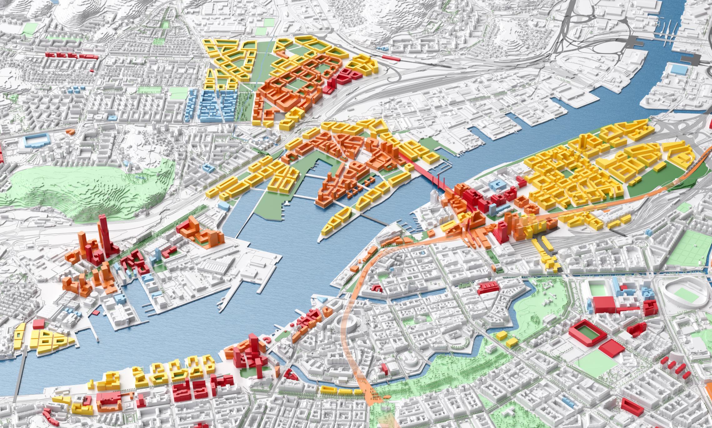 Visionsbild över Älvstaden som visar hur centrala Göteborg kan komma att se ut när den växt till dubbel storlek.