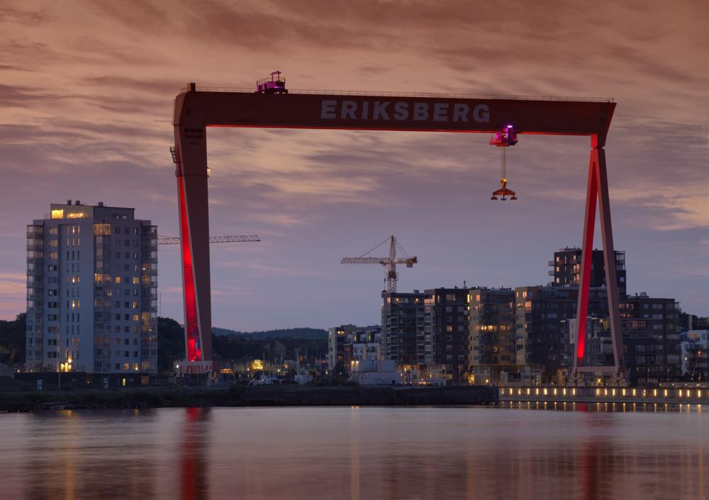 Kvällsljus på Bockkranen i Eriksberg.