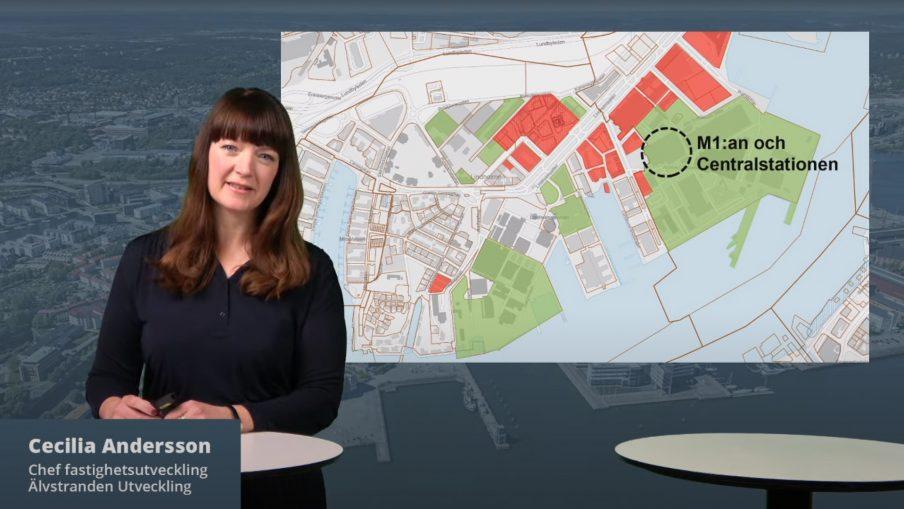 Cecilia Andersson från Älvstranden Utveckling berättar om försäljningen av M1:an.
