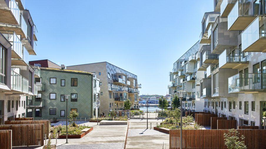 Nybyggda bostäder i närheten av vattnet.